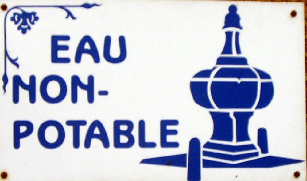 panneau, eau non potable, fontaine