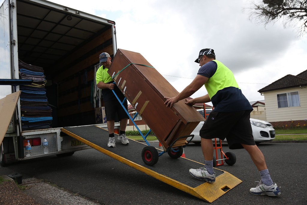 Loading Large Boxes Up The Ramp Onto Removal Truck Photo Flickr