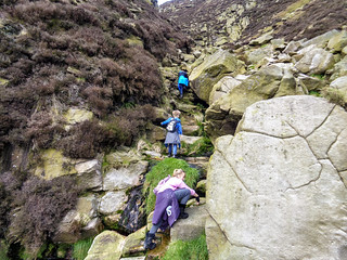 The scrambling on Crowden Clough begins