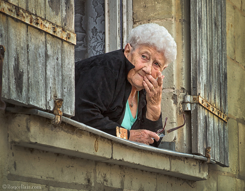 Old Woman in Window, France | Old woman looking out of her ...