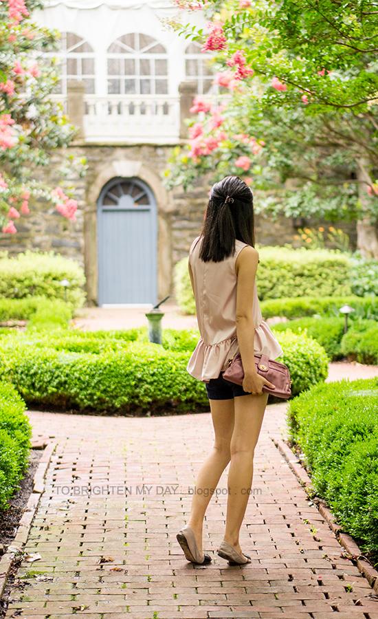 pink peplum top, navy shorts, rose pink clutch, bow ballerina flats