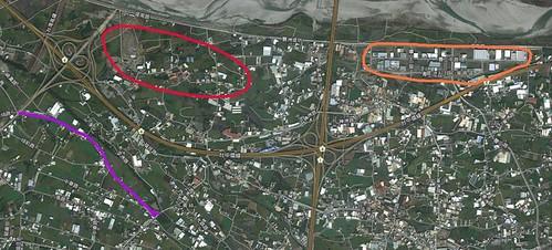 豐州一二期與浮圳位置對應圖,橘一期、 紅二期、 紫是浮圳和圳前路。(守護神岡聯盟製作)