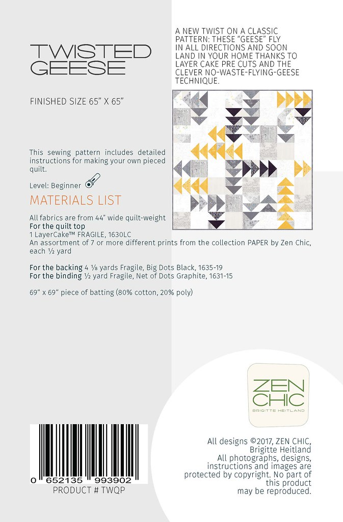 Materials List Twisted Geese by Zen Chic for Moda