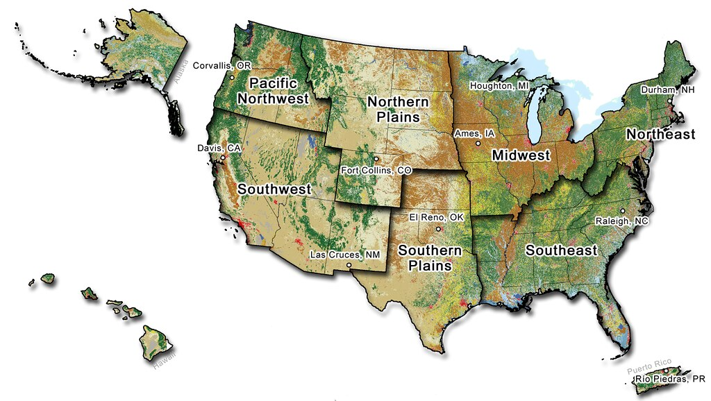 Map Of The United States Showing The Climate Hub Regions A Flickr - Southern us map with cities