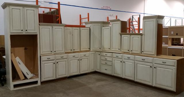 Kitchen 2 antique white glazed kitchen cabinet set for Restoring old kitchen cabinets