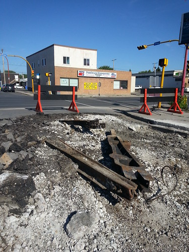 11th Ave. and Winnipeg St. Streetcar tracks in Regina. #transit