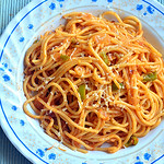 Tomato spaghetti recipe - Indian vegetarian spaghetti recipe