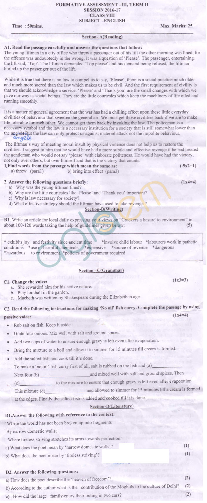 CBSE Class 8 Formative Assessment III Question Paper