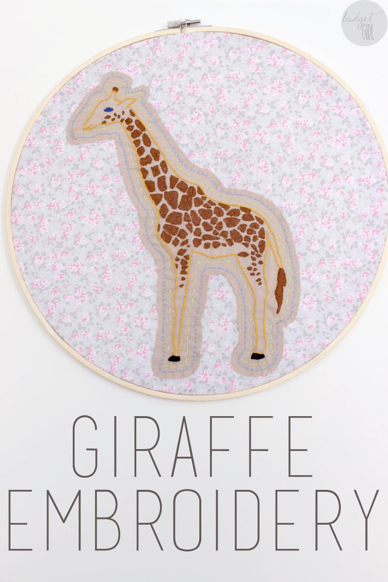 How To Make Cute Giraffe Embroidery Hoop Art