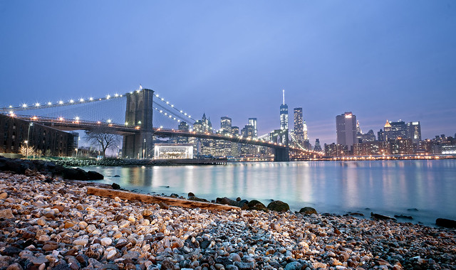 New York City Skyline from DUMBO in Brooklyn HDR Photography