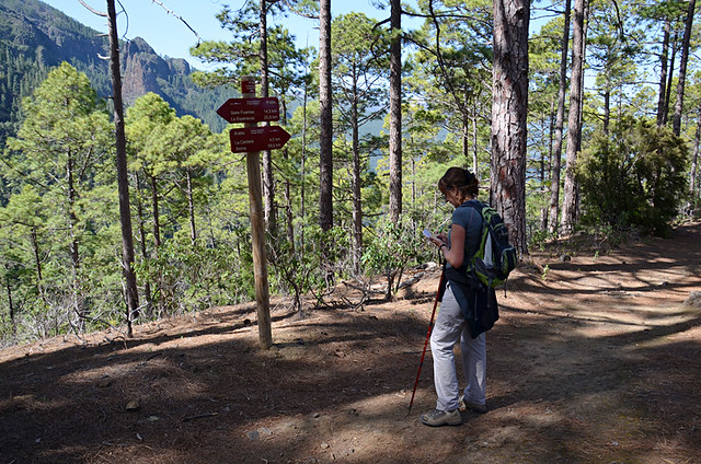 Checking signposts, Organos path, Orotava Valley, Tenerife