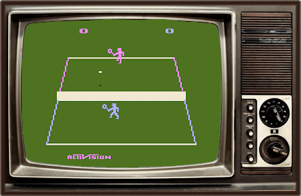 Activision's Tennis video game on a vintage TV featuring two blocky players on court.