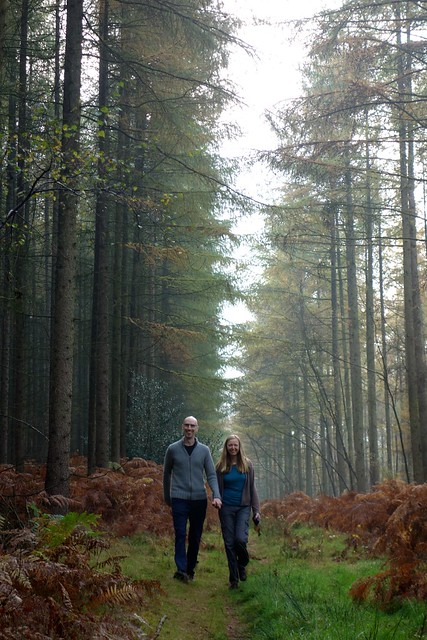 Photo of me and Mary walking through woods