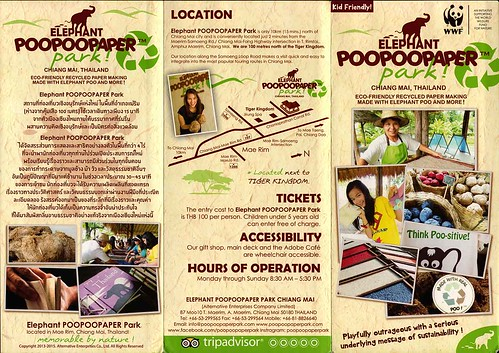 Brochure Elephant PooPooPaper Park Chiang Mai Thailand 1