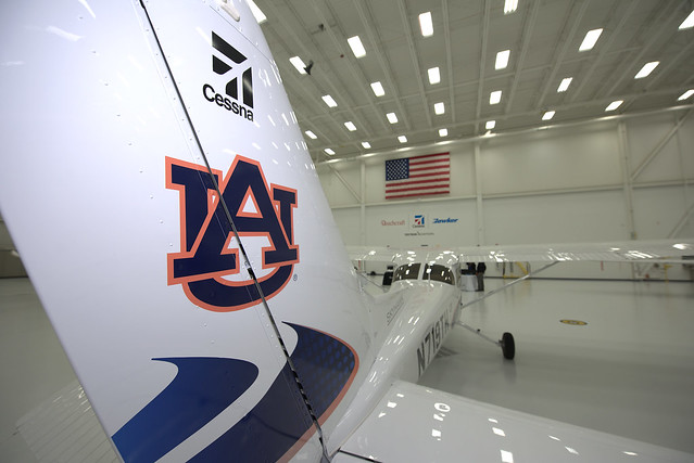 A view of the Auburn-logoed Cessna Skyhawk 172 in the Textron Aviation hanger.