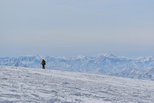 冬の守門岳山頂からの展望