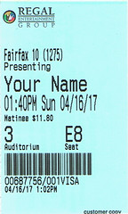 Your name ticketstub