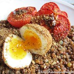 Roast Tomatoes and Lentils With Dukka-Crumbed Eggs