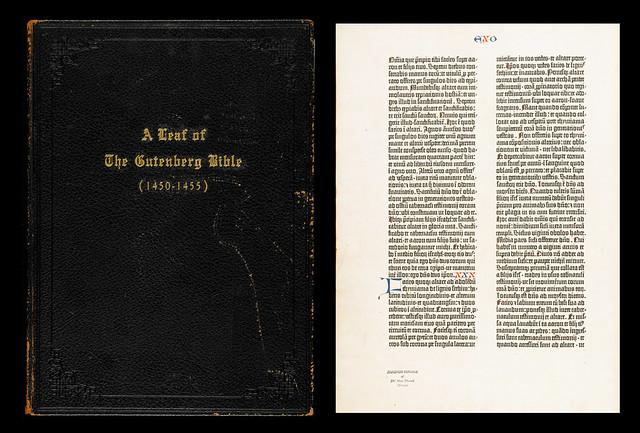 A single leaf from an incomplete copy of the Gutenberg Bible /   Feuillet d'un exemplaire incomplet de la Bible de Gutenberg