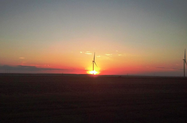 Wind turbine at dusk