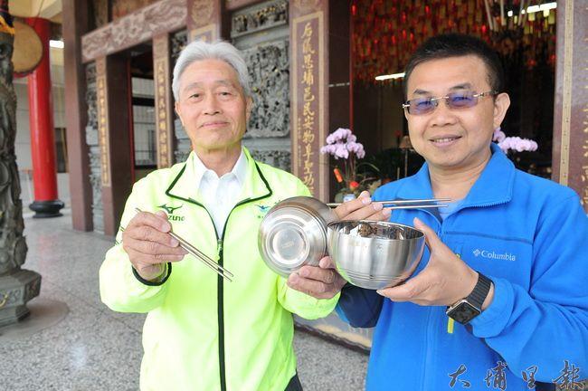 埔里天后宮舉辦媽祖文化節,企業界人士贊助食品級不銹鋼餐具,不製造免洗餐具垃圾。(柏原祥 攝)
