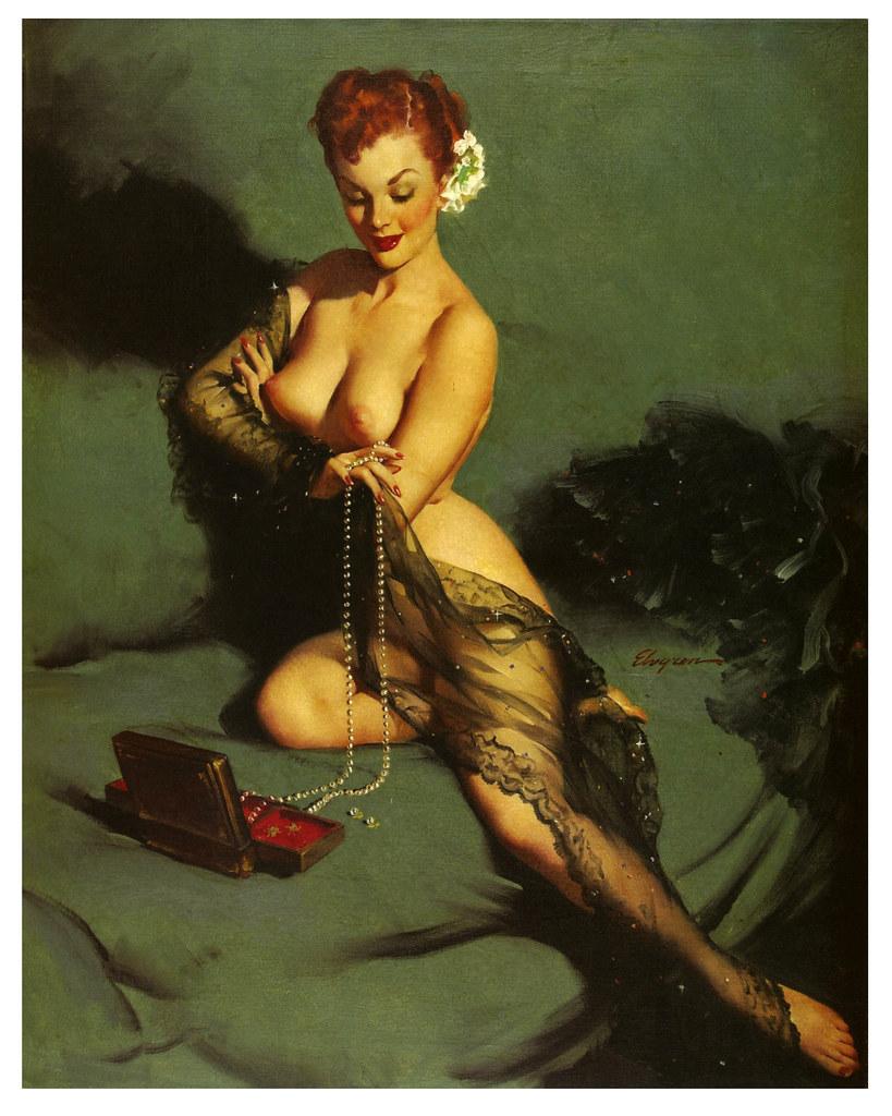 Black Lace & Pearls   Gil Elvgren, 1940's.   Paul Malon ...
