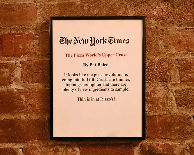 Cartel del New York Times en el que dicen cual es la mejor pizza de Nueva York