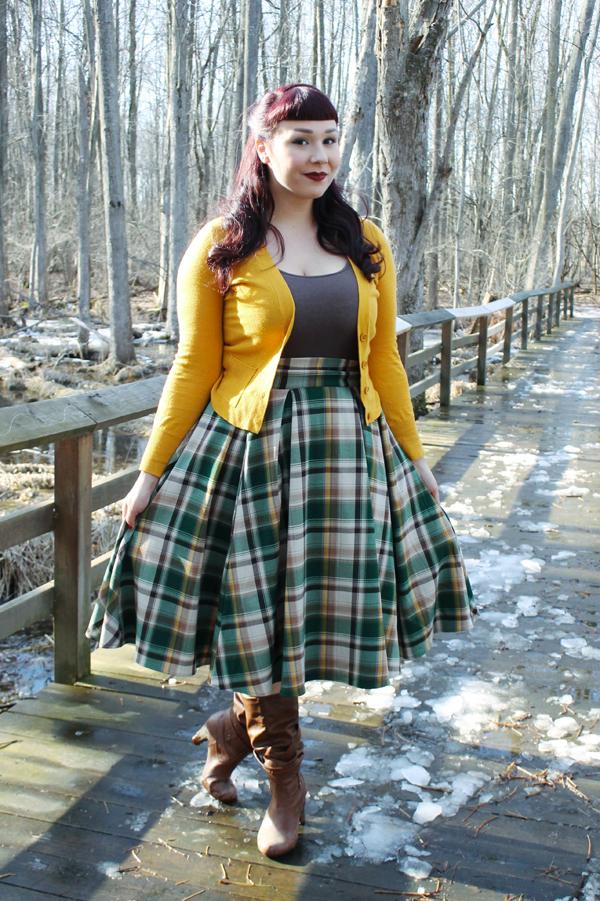 green plaid pinup skirt