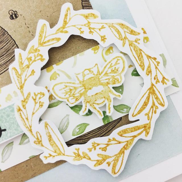 StickerKitten Bee Garden stamp set - bee and wreath stamps