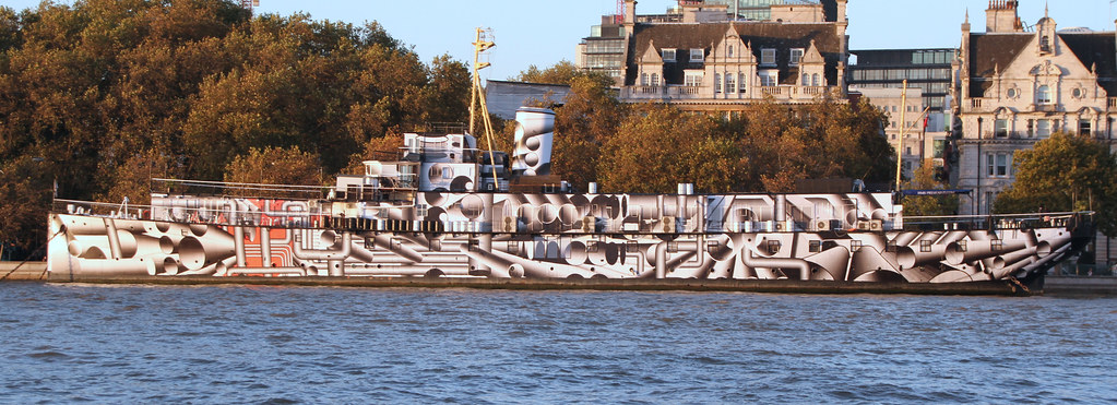 HMS President in Dazzle Camouflage