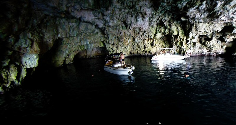 Green Cave, boats at sea in interior,Croatia