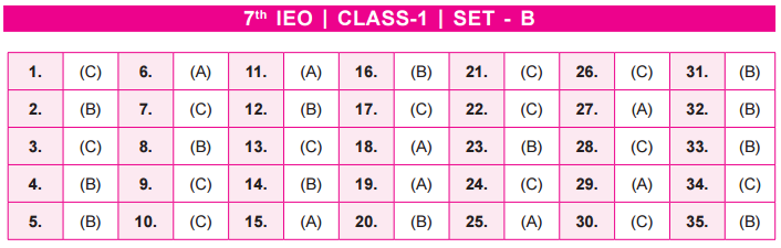 11th IEO 2020 -2021 Answer Keys for Class 1