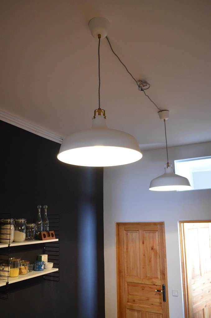 Berlin apartment kitchen ranarp ikea white pendant lights for Lampe de bar cuisine