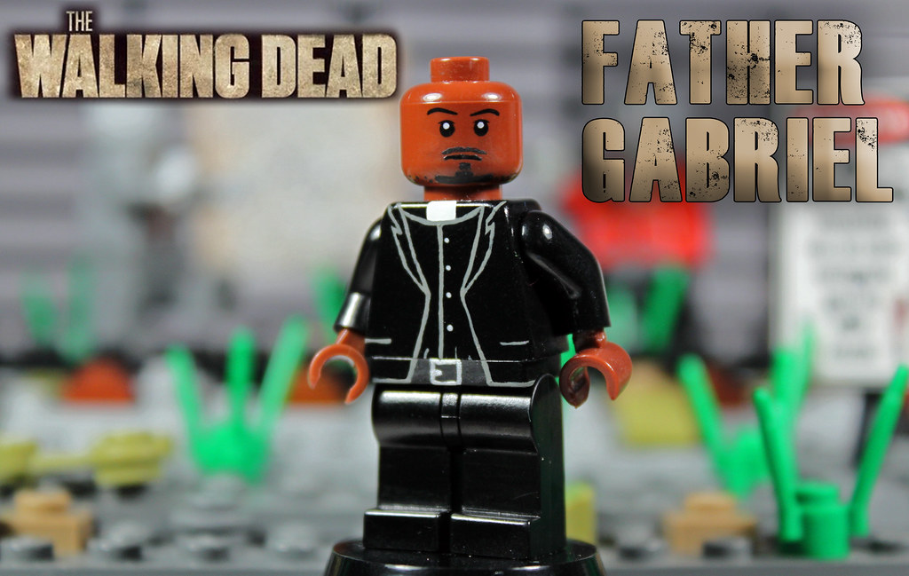 custom lego the walking dead father gabriel the lord. Black Bedroom Furniture Sets. Home Design Ideas