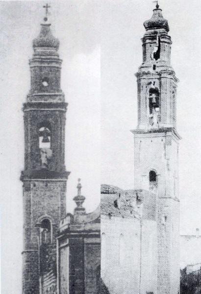 Noicattaro. Il campanile del Carmine prima e dopo il fulmine
