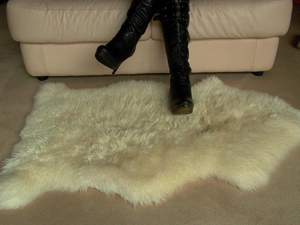 Dirty Stiletto Platform Boots On Sheepskin Rug Ii My