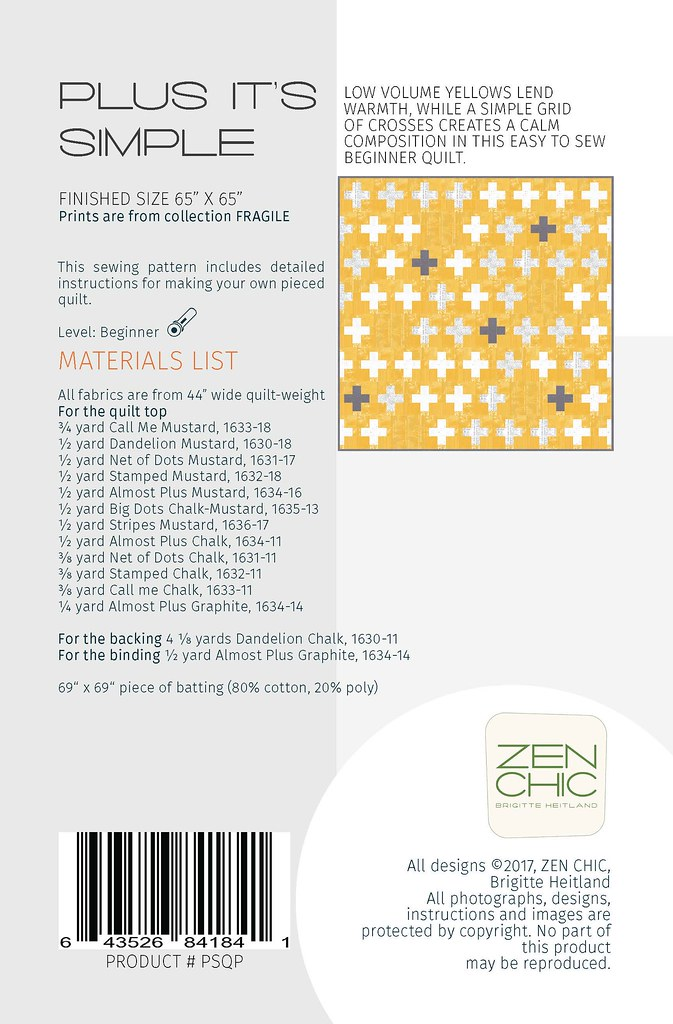 Materials List Plus It's Simple by Zen Chic for Moda