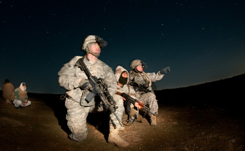 Tatical patrols at night in Iraq | by The U.S. Army