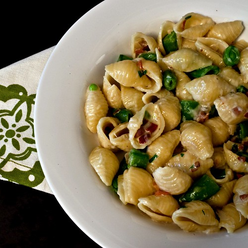 creamy pasta with snow peas and lonza | by Married with Dinner