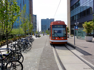 Bike parking and streetcar coexist | by Steven Vance