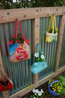 Creative containers are fun! (purses) Naples Botanic Garden, FL | by KarlGercens.com GARDEN LECTURES