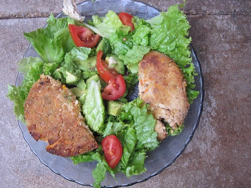 Veggie Burger on Salad | by veganbackpacker