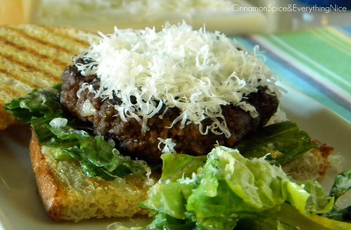 Caesar Salad Flank Steak Burgers on Garlic Sourdough Crostini | by CinnamonKitchn