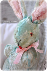 Well loved Pink & Aqua Bunny | by Eye Candy Creations ~ Jenn Hayslip
