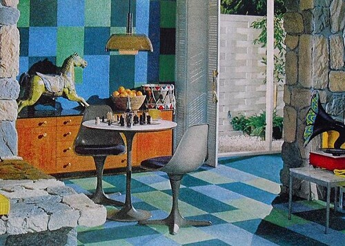 1960s Kitsch Interior Den Rec Room With Psychedelic Victrola Vintage Interior Design Photo | by Christian Montone
