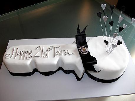 21st Birthday Key Cake Chocolate And Vanilla Marble Cake