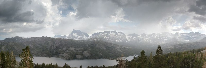 Panorama shot looking south and west over Waugh Lake with virga and thunderclouds in the distance