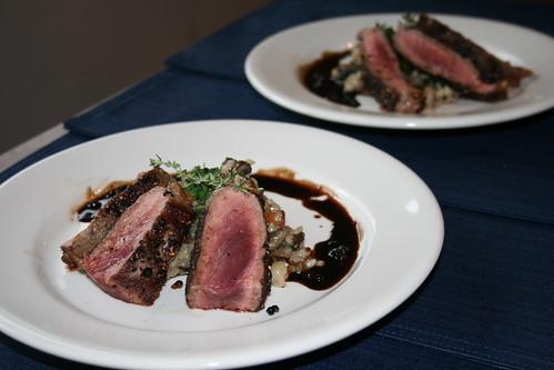 Rib Eye Steak Au Poivre with Balsamic Reduction and Mushro ...