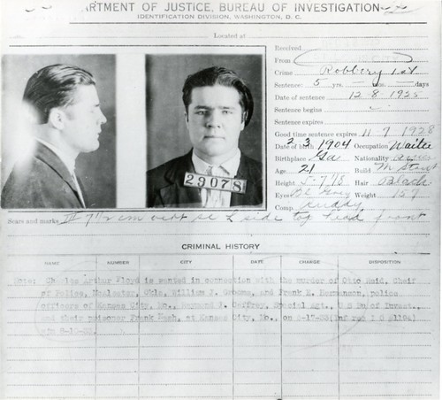 Charles Arthur 'Pretty Boy' Floyd wanted poster-  criminal history record or 'rap sheet' __img452 | by Wampa-One
