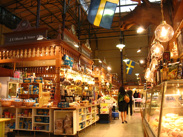 interior at östermalmshallen (historic indoor market)